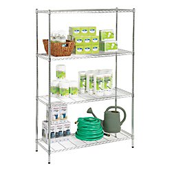 Realspace(R) Wire Shelving, 4 Shelves, 72in.H x 48in.W x 18in.D, Chrome