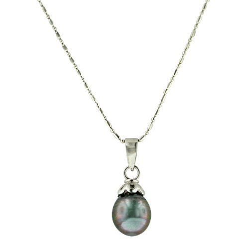 Sterling Silver Tahitian Cultured Pearl Pendant Necklace with Chain (9-10mm )