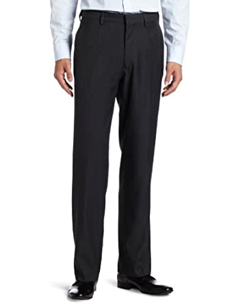 Haggar Men's Flex Gab Heather Plain Front Expandable Waistband Straight Fit Dress Pant,Charcoal Heather,32x30