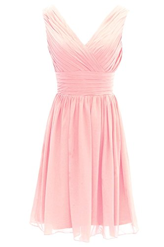 Ouman Short Bridesmaid Dress Chiffon Party Evening Dress Medium Pink
