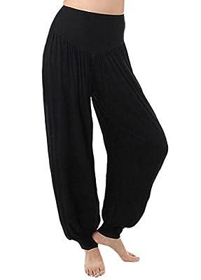 Womens Soft Elastic Waistband Fitness Yoga Herem Pants