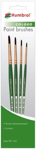 Humbrol AG4050 Coloro Paint Brushes Sizes 00,1,4,8 - 1
