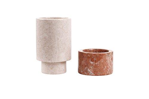 """Marmorvase """"Natur"""" Vase aus Marmor in modernem Design, 2teilig, schönes Wohnaccessoire, Naturstein, Dekoration (Klein: Ø11cmx20cm, beige/rot)"""