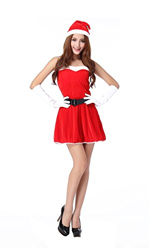 [YeeATZ Party Stage Performance Sexy Christmas Costume(Red,One Size)] (Pippi Longstocking Costumes)