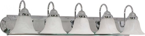 Nuvo 60/319 Ballerina Five Light 36-Inch Vanity with Alabaster Glass, Polished Chrome