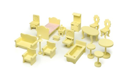 Badger Basket Doll House Furniture Set - 18 Pieces - Yellow