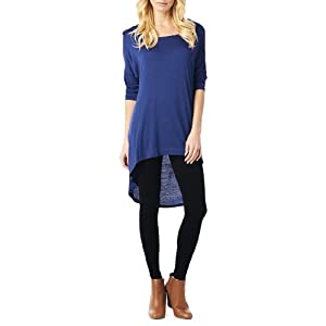 Women'S Rayon Span High & Low Tunic with 3/4 Sleeves - Navy XL