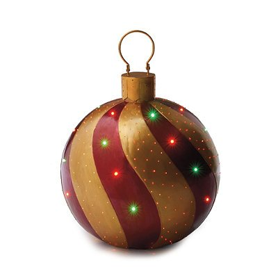 Red gold fiber optic ornament frontgate outdoor for Christmas lawn ornaments