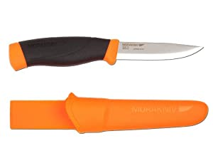 Morakniv Companion Heavy Duty Knife with Sandvik Carbon Steel Blade, Orange