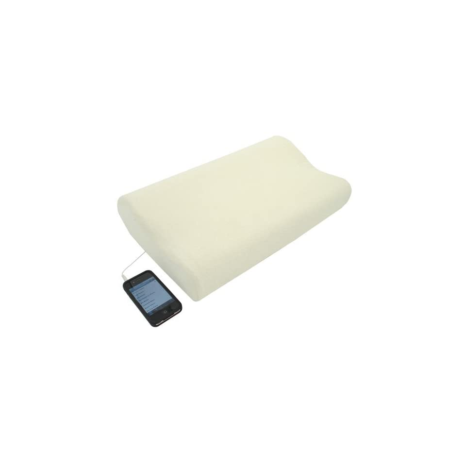 Wiki Memory Foam iMusic Pillow   Uses a 3.5mm audio cable.