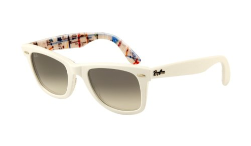 Ray-Ban Original Wayfarer Sunglasses – White / Metro Text w/ Grey Fade Lens