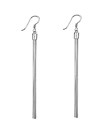 Fashion Silver Plated 925 Long Tassels Dangle 5 Small Ball Drop Statement Hook Earrings for Women