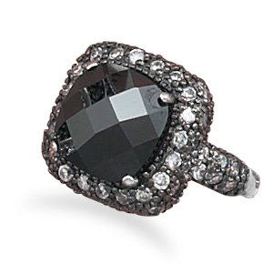 Sterling Silver Black Rhodium Plated CZ Ring / Size 6