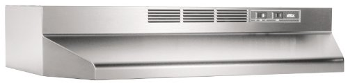 Broan 413004 Economy 30-Inch Two-Speed Non-Ducted Range Hood, Stainless Steel