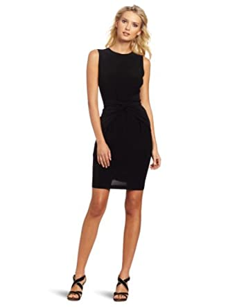KAMALIKULTURE Women's Sleeveless Tie Front Dress, Black, Medium