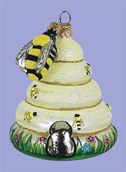 Beehive with Bee Glass Tree Ornament