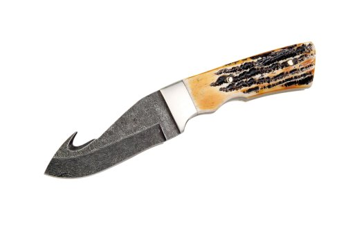 Bear & Son 544D 8 Inch Genuine India Stag Bone Guthook W/Sheath Damascus Knife
