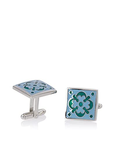 L2 by LOMA Green Floral Tile Cufflinks