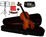 "Merano MA200 16"" Solid Viola with Case and Bow+Extra Set of Strings, Extra Bridge, Shoulder Rest, Rosin, Metro Tuner, Black Music Stand, Mute"