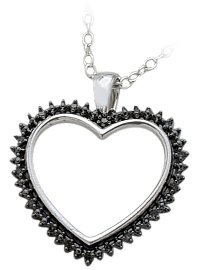Ladies Genuine Sterling Silver Black Diamond Heart Pendant with 16 inch chain