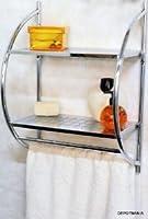 Etagère murale chromée salle de bain toilettes avec 2 Tablettes et 2 porte-serviettes