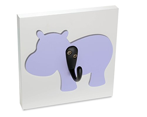 Homeworks Etc Single Wall Hook Nursery Decor, Lavender Hippo front-567791