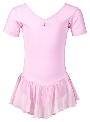 """tanzmuster Kinder Kurzarm Ballettanzug Ballett Trikot """"Betty"""" mit Chiffon Röckchen. Edles Ballettkleid mit Strass Applikation am Ausschnitt in rosa, weiß, schwarz, hellblau, pink und lila."""