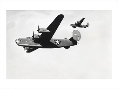 Low angle view of two bomber planes in flight, B-24 Liberator HIGH QUALITY MUSEUM WRAP CANVAS Print Unknown 24x18