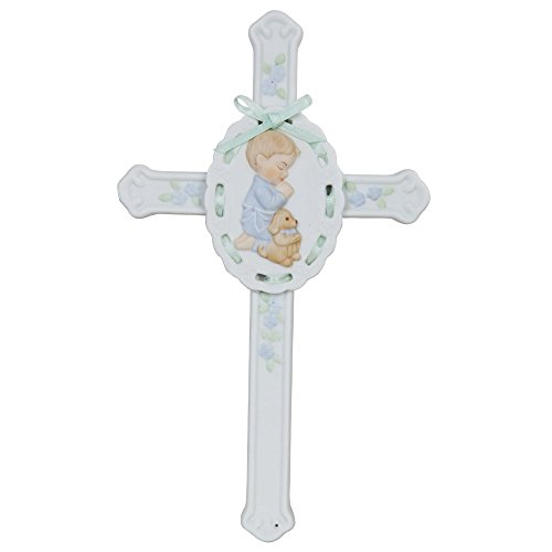 """Pacific Giftware Porcelain Bisque Finish Praying Boy Cross with Puppy Figurine, 8.5"""" W"""