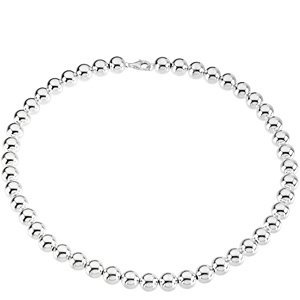 Sterling Silver 10mm Bead Necklace or Bracelet: 8 Inch