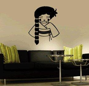 Casa decorazione giapponese lady wall art, adesivi in vinile, H = 50cm, W = 50cm