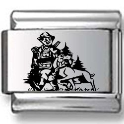 Hunter and Dog Laser Italian Charm