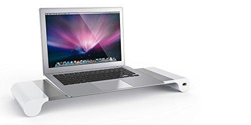 ノート パソコン スタンド 4USBハブ付 アルミニウム製 キーボード収納MacBook SONY SAMSUNG iMac パソコン ラップトップ モニタースタンド対応可耐荷重10kg