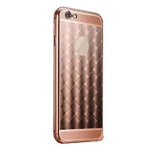 KARP Luxury Diamond Pattern Plaid Fundas Aluminum Metal Bumper + Glossy Acrylic Back Case For Apple IPhone 6 Plus [5.5''] (Rose Gold)
