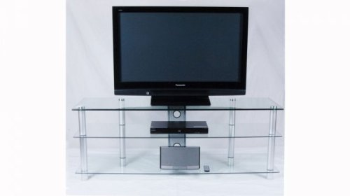 Clear Glass and Aluminum TV Stand with Wire Management image B004CWXTK0.jpg