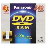Panasonic Double-Sided DVD-RAM Disc with Removable-Cartridge for Video Recording, 9.4GB, 2-3x-Speed, 3-Pack