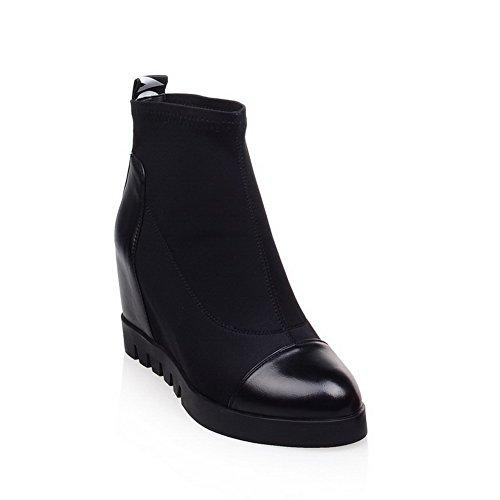voguezone009-donna-tirare-tacco-alto-tessuto-lucido-puro-bassa-altezza-stivali-nero-41