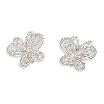 Sterling Silver Cut Out Butterfly Earrings
