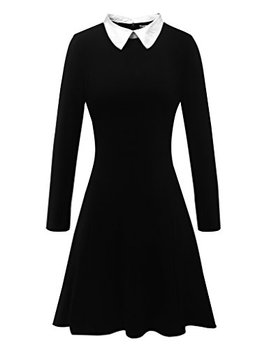 Aphratti Women's Long Sleeve Casual Peter Pan Collar Flare Dress Black X-Large