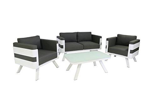 Greemotion 123530St. Tropez set Lounge, 4pezzi, 157x 79x 70cm, grigio/bianco