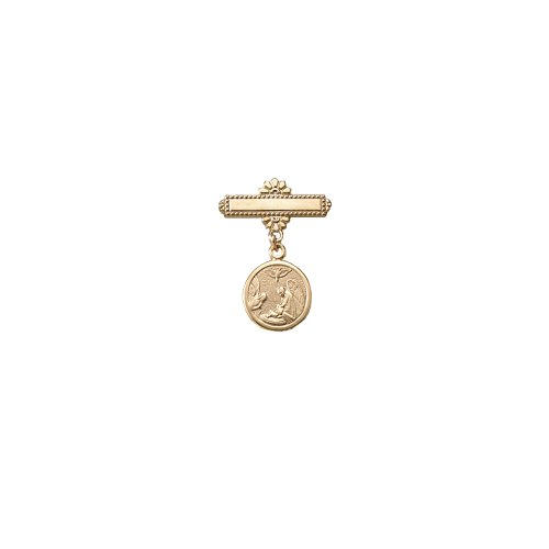 Children's 14k Gold Filled Christening Pin with Guardian Angel