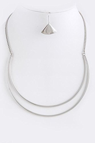 [KARMAS CANVAS CRESCENT BIB NECKLACE SET (Silver)] (Lobster Claw Costume Pattern)
