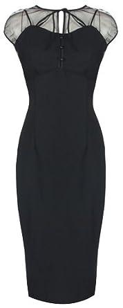 LINDY BOP 'PANDORA' GLAMOUROUS VINTAGE 1950's STYLE BLACK PENCIL WIGGLE DRESS (8, Black)