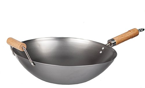 M.V. Trading Traditional 14-Inch Flat Bottom Carbon Steel Wok