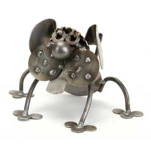 Cheeks the Dog Recycled Metal Sculpture