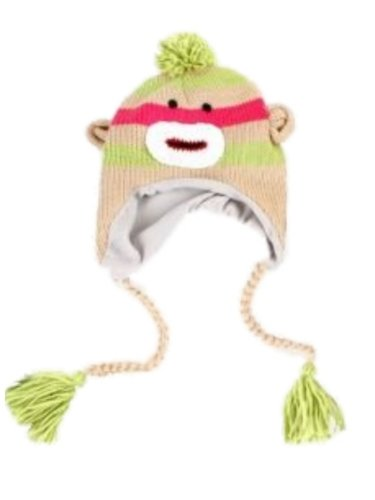 Manhattan Hat Company Womens Green Striped Sock Monkey Peruvian Hat Pom Trapper