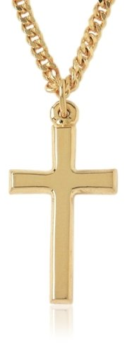 "Gold Plated Plain Cross Pendant, 24"""