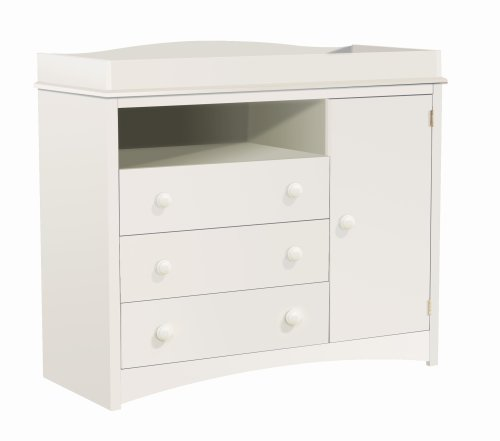 South Shore Furniture, Peak-a-Boo Collection, Changing Table with Drawers, Pure White