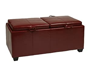 OSP Designs Office Star Products Designs Metro Storage Ottoman with Dual Trays and Seat Cushions, Crimson Red, Faux Leather