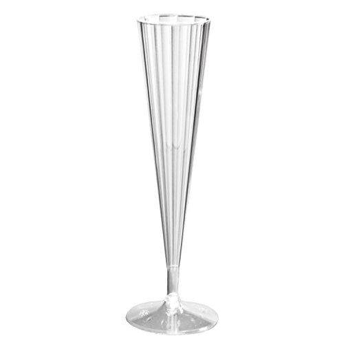 Party Essentials Deluxe/Elegance Two Piece Hard Plastic 5-Ounce Champagne Flutes, Clear, 10 Count - 1